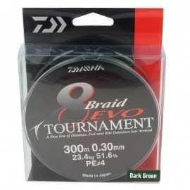 G6233-Daiwa Tournament Braid 8 Evo 300 mt Dark Green