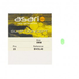 12905-Asari BVOL Perlas biperforadas ovaladas fluorescentes